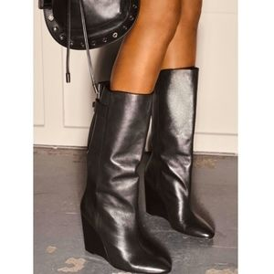 Zara SRPLS Black Leather Wedge Boots, Size 7.5